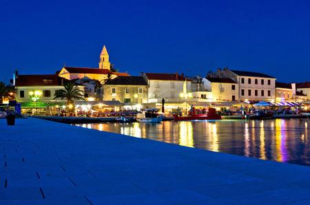 Town of Biograd evening view at blue hour, Dalmatia, Croatia