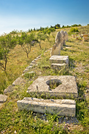 artifacts: Stone artifacts of ancient town of Asseria in Croatia