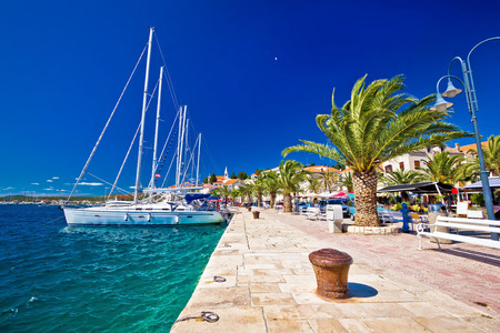 Rogoznica sailing destination in Dalmatia waterfront view, Croatia Stockfoto