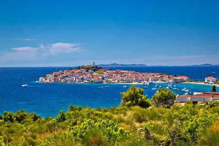 Town of Primosten dalmatian town on rock view, Dalmatia, Croatia Stock Photo