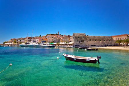 Town of Primosten turquoise waterfront view, Dalmatia, Croatia Editorial