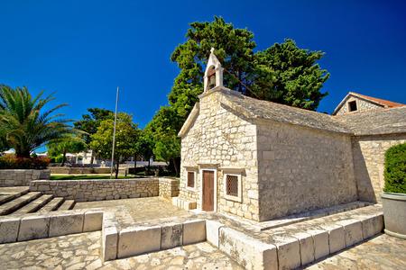 dalmatia: Old stone chapel in Primosten, Dalmatia, Croatia Stock Photo