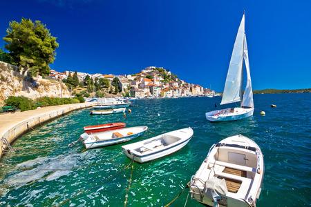 UNESCO town of Sibenik sailing destination coast view, Dalmatia, Croatia