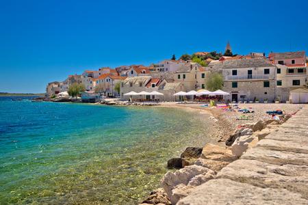 Scenic mediterranean beach in Primosten, Dalmatia, Croatia