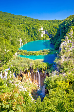 Beautiful falling lakes of Plitvice national park vertical view, Croatia