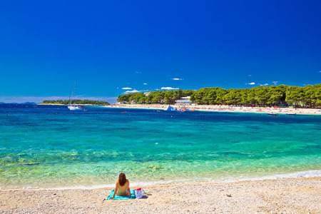 dalmatia: Turquoise Adriatic beach in Primosten, Dalmatia, Croatia Stock Photo