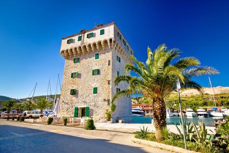 dalmatia: Stone tower in adriatic town of Marina, Dalmatia, Croatia Stock Photo