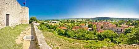 Далмация: Panoramic view from Benkovac fortress , Dalmatia, Croatia