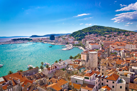 panorama city panorama: Split waterfront and Marjan hill aerial view, Dalmatia, Croatia