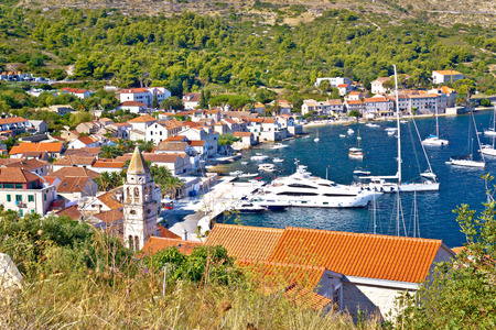 yachting: Old town of Vis yachting waterfront view, Dalmatia, Croatia Stock Photo