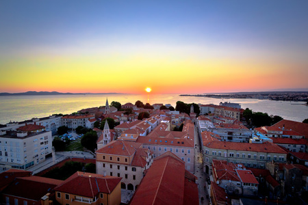 City of Zadar skyline sunset view, Dalmatia, Croatia Фото со стока
