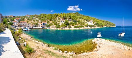 landscape architecture: Dugi otok island village of Sali summer panoramic view, Dalmatia, Croatia Stock Photo