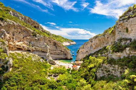 desert sun: Stinva beach on Vis island idyllic bay, Dalmatia, Croatia