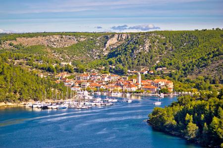city park boat house: Town of Skradin on Krka river, Dalmatia, Croatia