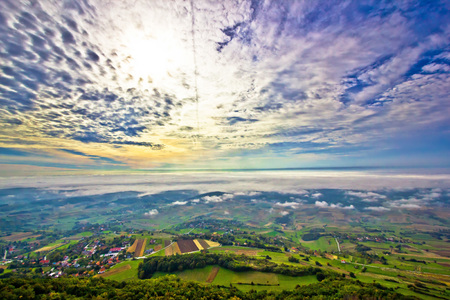 kalnik: Morning fog in green hills aerial view, Kalnik region of Croatia