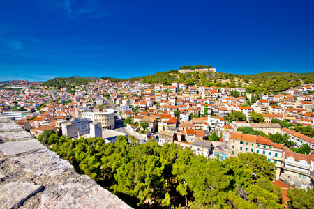 stronghold: Town of Sibenik and hill fortress view, Dalmatia, Croatia