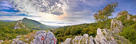 kalnik: Kalnik mountain fortress ruins and nature panoramic view, Croatia Stock Photo