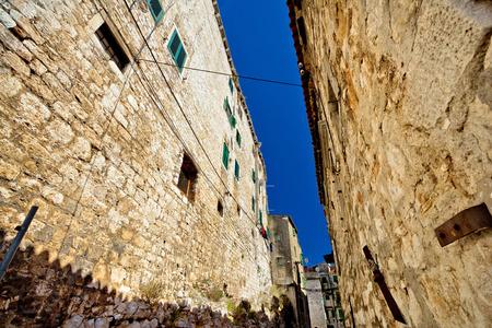 dalmatia: Old stone street of Sibenik , Dalmatia, Croatia Stock Photo