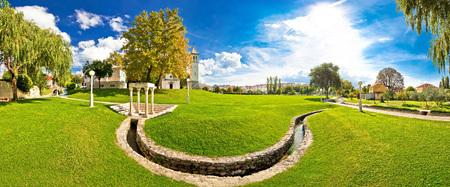 city park boat house: Solin park and church panoramic view with Jadro river, Dalmatia, Croatia