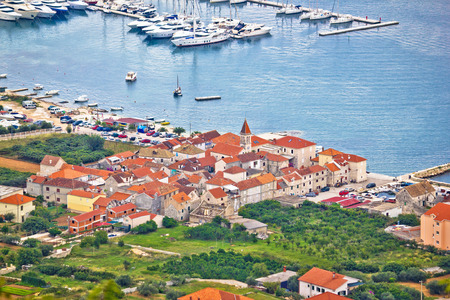 kornat: Town of Seget aerial view, Dalmatia, Croatia Stock Photo