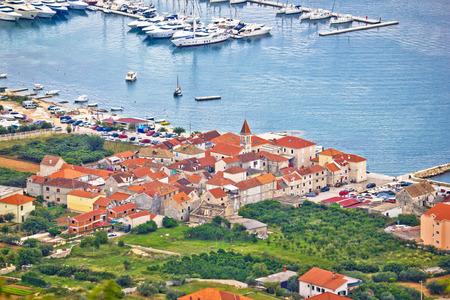 blue lagoon: Town of Seget aerial view, Dalmatia, Croatia Stock Photo