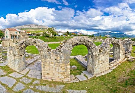 amphitheatre: Historic stone amphitheatre in ancient Solin, Croatia