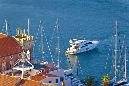 yachting: Town of Vis yachting destination of Croatia Stock Photo