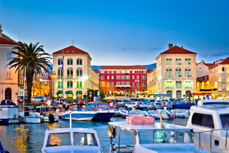 Prokurative square in Split evening colorful view, Dalmatia, Croatia Фото со стока