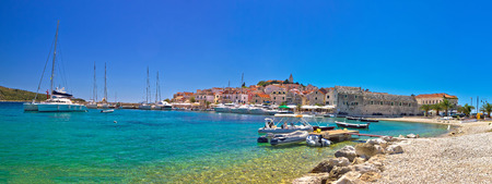 Primosten beach and harbor panoramic view, Dalmatia, Croatia Stock Photo