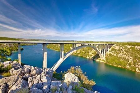 bridge in nature: Arch bridge over Krka river, Dalmatia, Croatia Stock Photo