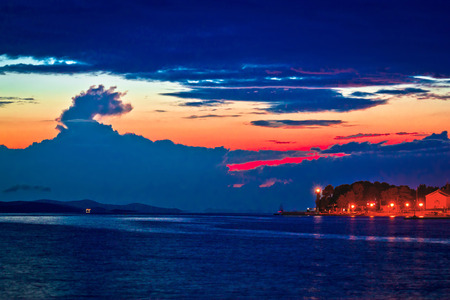 epic: Puntamika peninsula in Zadar epic twilight view, Dalmatia, Croatia Stock Photo