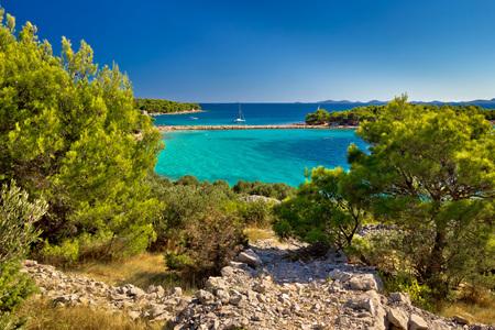 Beautiful emerald beach on Murter island, Dalmatia, Croatia