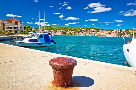 murter: Town of Tisno harbor and waterfront, Island of Murter, Croatia