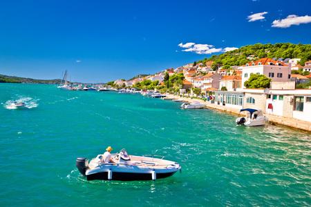 murter: Summer view of Tisno coast and emerald sea, Island of Murter, Croatia