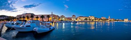 Split waterfront panorama in blue hour, Dalmatia, Croatia