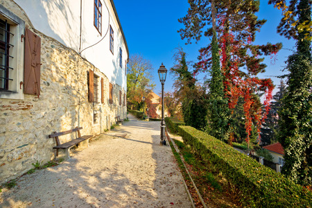 town: Zagreb upper town park walkway autumn view, capital of Croatia Stock Photo