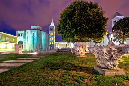 artefacts: Zadar historic square evening view with old Roman artefacts, Dalmatia, Croatia Stock Photo