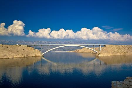 dalmatia: Island of Pag bridge and Velebit mountain view, Croatia Stock Photo