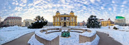 marshal: Marshal Tito square in Zagreb panorama, winter view of Croatian national theater Stock Photo