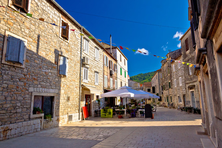 starigrad: Colorful stone streets of Stari Grad, island of Hvar ancient architecture, Croatia