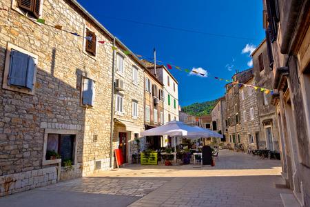 starigrad: Colorful stone streets of Stari Grad, island of Hvar ancient architecture, Croatia