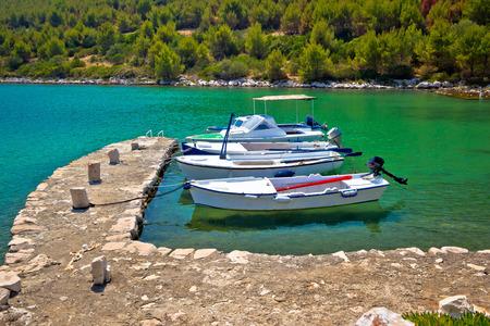 lonley: Telascica bay on Dugi Otok island boats in harbor, Dalmatia, Croatia