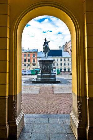 central square: Zagreb central square arcade view, capital of Croatia