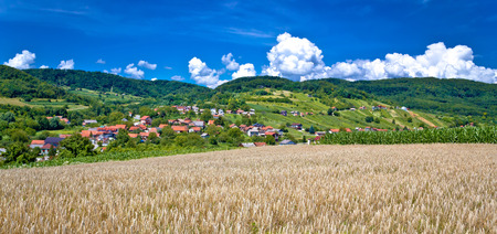 kalnik: Agricultural landscape and village by the hill, Sudovec village of Croatia Stock Photo