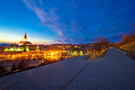 calvary: Marija Bistrica shrine and calvary night view, Zagorje, Croatia