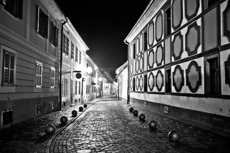 Town of Varazdin steet evening view in black and white, northern Croatia
