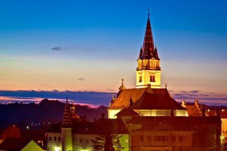 saint mary: Marija Bistrica marianic shrine church evening view, Zagorje, Croatia
