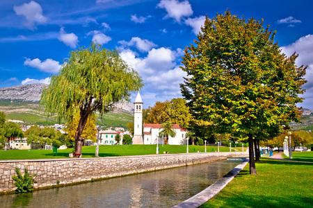 city park boat house: Ancient Solin church and Jadro river view, Dalmatia, Croatia