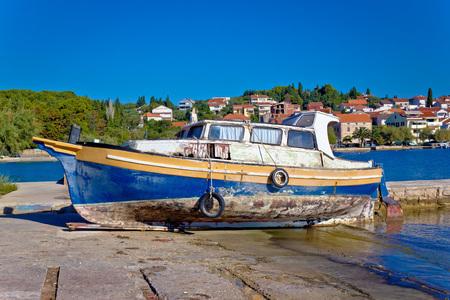 Old rusty boat on Ugljan island coast, Dalmatia, Croatia Stock Photo