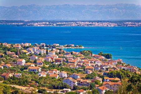 Island of Ugljan coast, Zadar and Velebit mountain panorama, Dalmatia, Croatia
